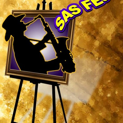 SAS FEST logo with gold background